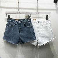 韩国ulzzang2018春新款高腰显瘦牛仔裤磨毛边短裤潮休闲直筒裤女