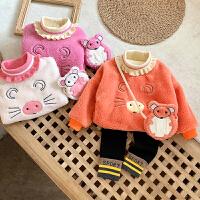 女宝宝加绒卫衣冬装新款保暖套头上衣 1-5岁小女孩