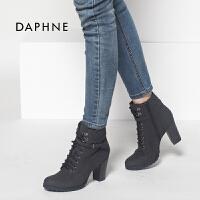 【9.20达芙妮超品2件2折】Daphne/达芙妮正品新款英伦马丁圆头系带高跟女单靴