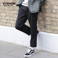 VIISHOW潮牌男装秋新款长裤纯色水洗直筒裤子男士青年休闲裤
