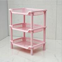 塑料置物架 厕所 卧室放置架 厨房物品收纳架放杂物的架子多层 粉红色 迷你型