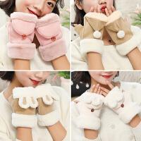 手套冬季保暖学生绒厚款半指韩版鹿皮绒翻盖手套女孩