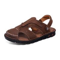 户外沙滩鞋男夏季透气厚底凉拖鞋运动休闲鞋牛皮男士包头凉鞋
