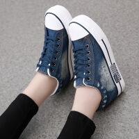 秋季新款低帮厚底内增高牛仔帆布鞋女韩版学生运动休闲鞋布鞋子