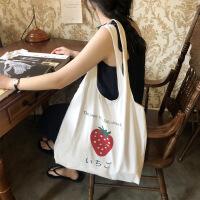 草莓帆布包包女包新款2019夏天小清新学生单肩包大容量女百搭 草莓背心包