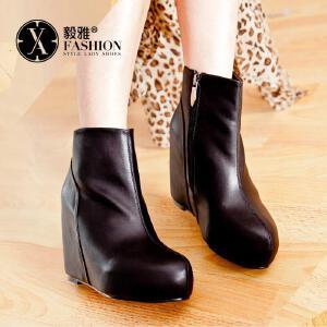 【满200减100】【毅雅】欧美时尚帅气女靴 侧拉链内增高舒适裸靴