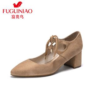 富贵鸟2017春季新款羊绒单鞋 女粗跟女鞋 系带高跟鞋复古女鞋