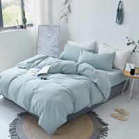 日式简约色水洗棉1.5/1.8米床单四件套棉素色双人床品被套