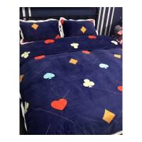 加厚卡通牛奶绒床上四件套 秋冬保暖珊瑚绒法莱绒双人床单被套