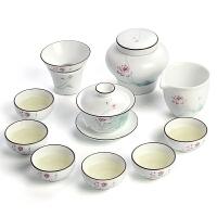 脂白家用陶瓷功夫茶具套装 盖碗茶杯茶具整套