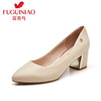 富贵鸟时尚头层羊皮压纹女鞋 尖头浅口粗跟单鞋 女士高跟鞋工作鞋