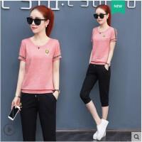 运动服套装女 韩版大码新款短袖宽松时尚休闲七分裤大码两件套