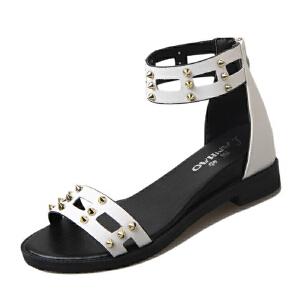 ELEISE美国艾蕾莎新品060-X33韩版超纤皮坡跟女士凉鞋