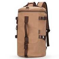 多功能双肩包男士帆布背包运动户外旅游包圆筒包手提旅行包 浅咖色