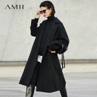 Amii极简流行帅气羊毛毛呢外套女2018冬新款翻驳领配腰带修身大衣
