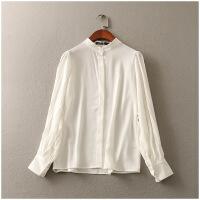 夏季纯色薄款圆领长袖简约单排扣雪纺衫女24623