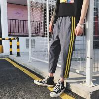 港风夏季韩版条纹男士休闲裤子青少年哈伦裤日系小脚九分裤运动裤