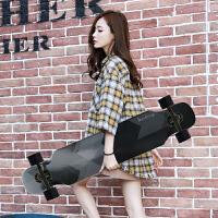 粉红豹滑板初学者女孩男生4轮公路长板滑板女生刷街 黑色 魔方黑