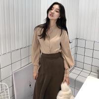 2018春秋新款韩版立领复古单排扣气质灯笼袖百搭衬衫女学生上衣