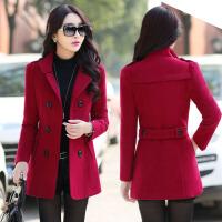 2016冬季时尚加厚蝴蝶结短款毛呢外套甜美可爱韩版修身呢子大衣女