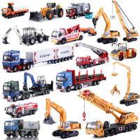 凯迪威工程车挖掘机合金汽车模型消防车吊车翻斗车儿童玩具套装