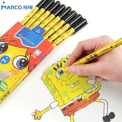 8支马可黑色儿童水性勾线笔 勾边描边绘画画画细马克笔描线记号笔 8支装 安全无异味