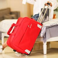 七夕礼物拉杆包旅行包女手提行李包旅行袋可折叠防水轮子待产包大容量潮款 红色 大