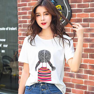 夏季新品韩版宽松圆领棉短袖T恤女装印花俏皮娃娃图案小衫