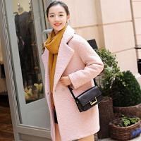 毛呢外套女中长款2017秋冬季韩版显瘦拼接加厚仿羊绒茧型呢子大衣