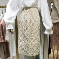 韩国ulzzang2018春装新款高腰菱形蕾丝半身裙直筒修身中长裙女潮