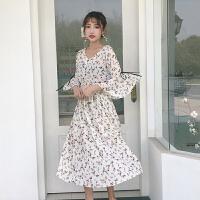 春季女装新款韩版淑女范显瘦大摆连衣裙荷叶边中袖沙滩碎花长裙子