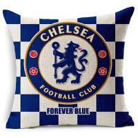 新款欧洲 被枕足球俱乐部 切尔西足球抱枕亚麻棉麻沙发抱枕宜家汽车靠垫软装装饰枕切尔西 红色
