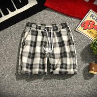 夏季日系格子休闲短裤男士加肥加大码韩版宽松五分裤潮流沙滩裤子