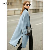 【券后�A估�r:275元】Amii�O�慵���松毛衣外套2020秋季新款撞色�F霾�{外搭洋�忾_衫女