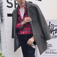 冬季毛呢大衣男中长款青年韩国宽松呢子风衣日系妮子外套加厚潮流