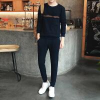 新款秋冬装时尚潮流韩版男士修身圆领运动套装休闲男装英伦潮