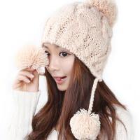 韩版潮毛线帽子女秋冬季新款保暖米色可爱护耳针织帽子