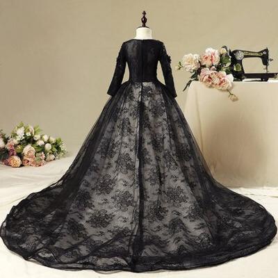 女童公主裙蓬蓬纱钢琴演出服 儿童礼服女黑色长袖模特走秀拖尾礼服 黑色拖 尾 款