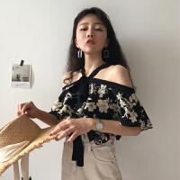 春季女装韩版花色气质宽松绑带显瘦露肩雪纺衫短袖打底衫衬衫上衣