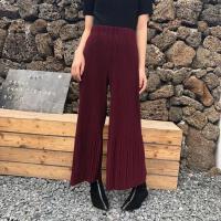 夏季新款女装韩国复古chic高腰宽松显瘦阔腿裤针织褶皱九分喇叭裤