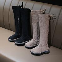 女童靴子长筒靴秋季新款小女孩黑色高筒靴