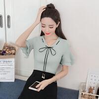 2018夏装新款韩版时尚纯色短袖荷叶边雪纺衫女气质小衫大码上衣潮