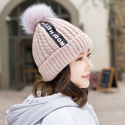 毛线帽子女冬天韩版加厚针织保暖帽时尚贴标青年学生护耳帽包头帽 时尚贴标 韩版潮流 加绒加厚 舒适保暖