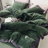 牛奶绒冬天四件套绒珊瑚绒天鹅绒加厚保暖双面绒床单法兰绒 YSH-Jameson詹姆森 绒织带-茶绿 床笠款:1.8m床
