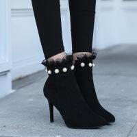 �q面裸靴蕾�z短靴高跟女�窝ゼ忸^�跟珍珠扣�壤���R丁靴 黑色