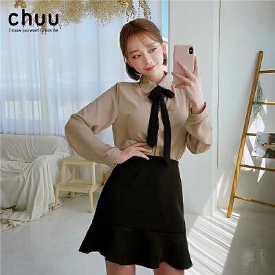 chuu雪纺长袖衬衫女系带2019秋季新款设计感港味百搭时尚洋气衬衣