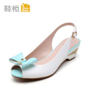 达芙妮旗下shoebox鞋柜凉鞋女鞋新款 性感鱼嘴鞋蝴蝶结粗跟高跟鞋1115303111