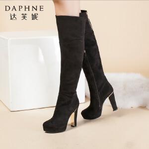 达芙妮正品女靴冬季时尚超高跟高筒靴后拉链防水台女长筒靴子女鞋
