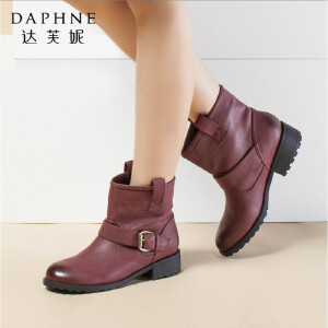 Daphne/达芙妮女靴冬款 时尚中跟圆头皮带扣英伦复古侧拉链女短靴