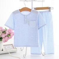 男女童睡衣宝宝莫代尔套装中大童纯棉薄款空调家居服儿童 天蓝色 纯棉蓝色袖子条纹